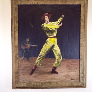 "Maurice Kish ""Flamenco Dancer"" Oil Painting On Wood Handmade One Piece Frame"