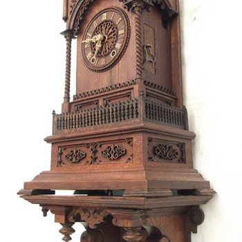 1863 Johann Baptiste Beha made this fantastic Gothic cathedral cuckoo clock.  - Clocks