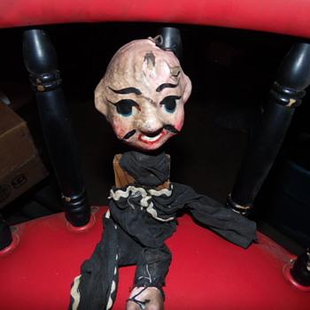Antique Folk Art Marionette Puppet,Handpainted Wood,Clay - Folk Art