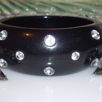 Huge bakelite bangle w/rhinestones & misc bracelets.