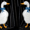 Cute vintage hand enamel painted cast duck book ends