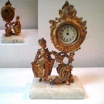 """Waterbury"" 7"" Wind-Up Novelty Clock /French Rococo Design Gilt Metal-White Onyx Base/Circa 1890-1900"