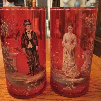 19th Century Victorian Cranberry Enameled Glass Moser Vases