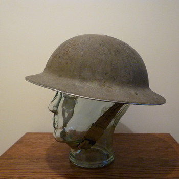 British WWI steel helmet, re-issued WWII. - Military and Wartime