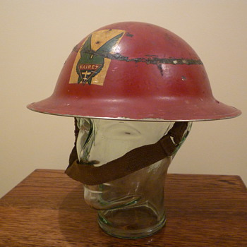 British WWII Fairey Aircraft Factory steel helmet