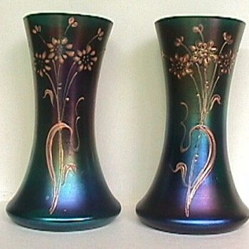 Pair of Iridescent Art Glass Vases - Bohemian?  German? - Art Glass
