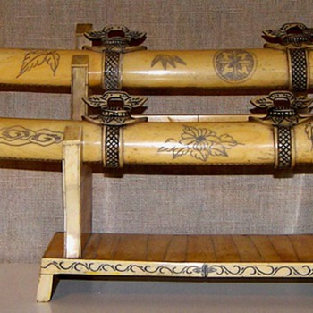 Ornamental Bone Samurai Swords