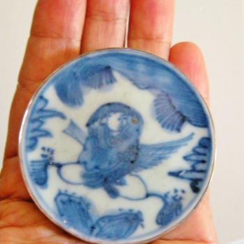 Antique Chinese Blue Ceramic Tile Sterling Pendant Hallmarked Signed 60mm - Asian