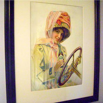1911 Motor Girl Poster - Coca-Cola