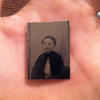 Tintype of young boy under the age of about 12 - Photographs