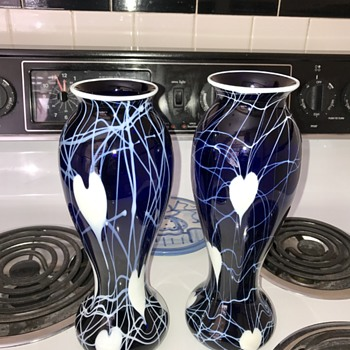 Imperial Freehand Pair of Vases - Art Glass