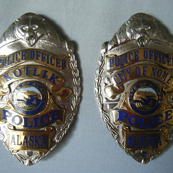 TWO BEAR TOPPED ALASKA POLICE OFFICER BADGES