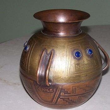 Chilean Arts and Crafts copper and brass vase.