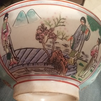 "10"" porcelain bowl geisha farming scene  - Asian"
