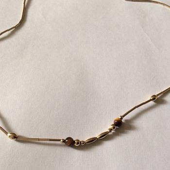 Vintage gold & tigers eye necklace
