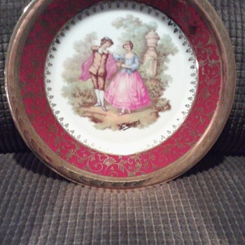 Vintage Miniature French Limoges Plate Fragonard French Lovers Garden Scene