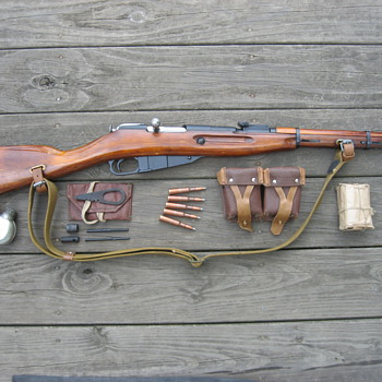 1942 Mosin Soviet M38  7.62 x 54 WWII carbine rifle &amp; gear - Military and Wartime