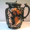 "Samuel Johnson Ware -Burslem- / 6 "" Black and Gilt Floral Syrup Pitcher With Pewter Lid /Circa 1887-1915"