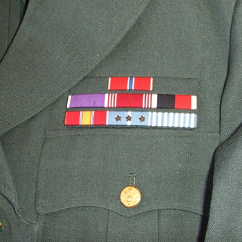 1956 Army Green Uniform with cloth ribbon bar grouping