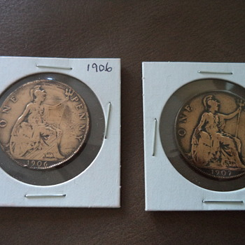 1906 & 1907  Penny-Edward VII - World Coins