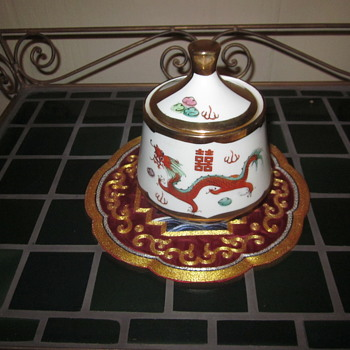 Red Dragon & Pheonix Chinese Enaneled Porcelain Gold Trim