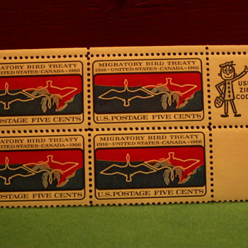 1966 Migratory Birds Treaty Five Cents Stamps