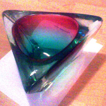 Large purple, red, and green Murano glass thingamajig very heavy/Murano Italy glass - Art Glass