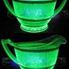 Uranium Glass Cream, Sugar & Tray, Maker, Pattern?