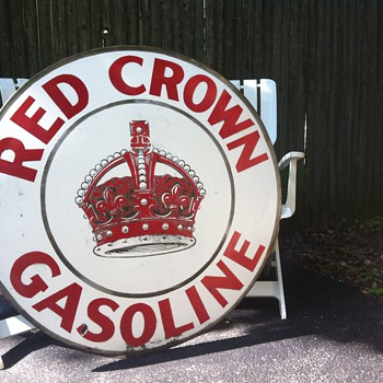 "Red Crown Gasoline 42"" vintage sign"