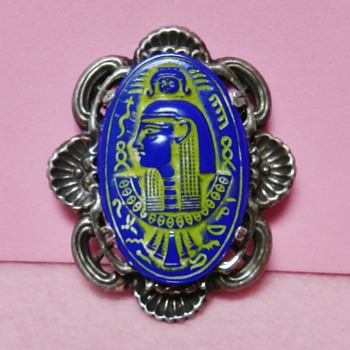 Egyptian Revival Czech Glass Brooch