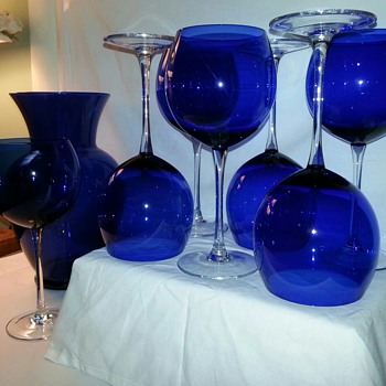 Cobalt Blue Goblets / Wine Glasses - Glassware