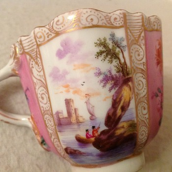 Antique Meissen cup twist handle crossed swords ship scene coast pink ground gilt