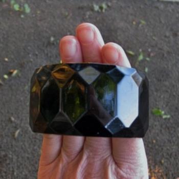 Wide black faceted bakelite bangle