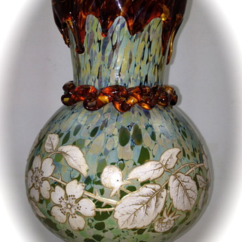 Harrach Enameled Vase, Mottled with applied dripped rim and rigaree, ca. 1895 - Art Glass