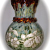 Harrach Enameled Vase, Mottled with applied dripped rim and rigaree, ca. 1895