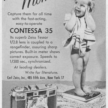 "1954 - Zeiss Ikon ""Contessa 35"" Camera Advertisement - Advertising"
