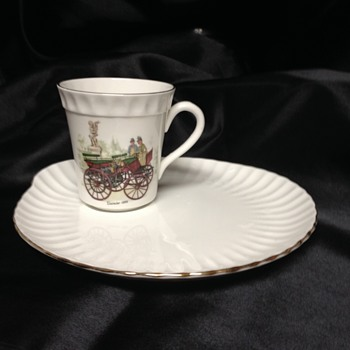 Crown Staffordshire Snack Plate & Cup Set - China and Dinnerware