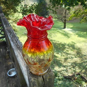 Art Glass Vase Cased Amberina Thumbprint Vertical Optic Threading ? - Art Glass