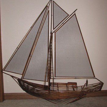 Original 1982 Curtis Jere Ship Wall Hanging Sculpture