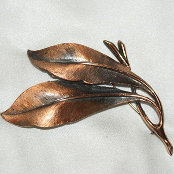 Copper-Tone Brooch - Costume Jewelry