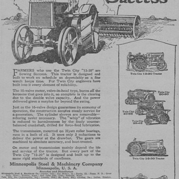 1919 Twin City Tractors Advertisement - Advertising