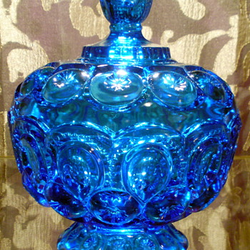 Blue L. E. Smith Moon &amp; Stars Candy Dish with Pedestal Base and Lid - Glassware