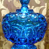 Blue L. E. Smith Moon & Stars Candy Dish with Pedestal Base and Lid
