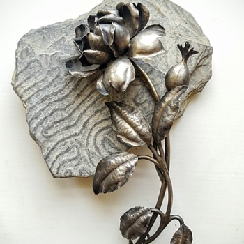 Huge art nouveau silver rose stem brooch, signed Lexcellent.
