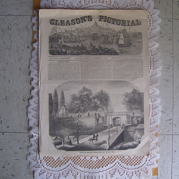 ACTUAL VINTAGE EDWARDIAN NEWSPAPER,  GLEASON'S PICTORIAL, BOSTON, SATURDAY,NOVEMBER 25th. 1854 - Paper