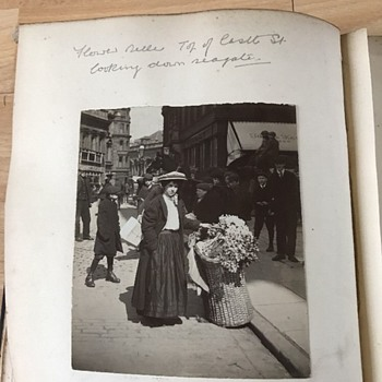 2CABINET PHOTOS FLOWER SELLER,#1- c.1910, Cabinet Size,#2- SHOPS /COBBLESTONE ST.