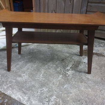 Vintage retro teak mid century table 81cm long with a curled table top and second shelf coffee table - Furniture