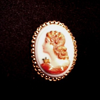 Milk Glass Painted Cameo Brooch /Marked Czecho    Slovakia / Circa 20th Century