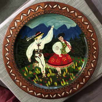 Painted Wooden ZAKOPAN? Plate