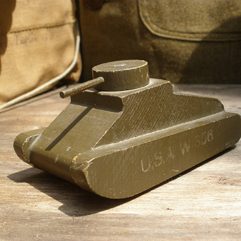 WWII wartime wooden tank toy. Unknown maker.
